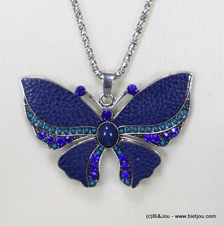 long necklace 0114645-09 butterfly metal-synthetic-strass