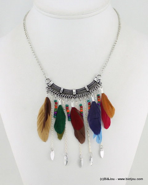 necklace 0115545-99 metal-feather-seed beads