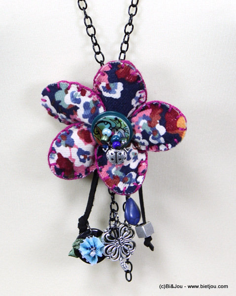 long necklace 0115556-08 flower cotton-shell-metal-seed beads