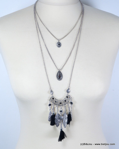 necklace 0115615-13 sautoir antique tassel feather metal-polyester-strass