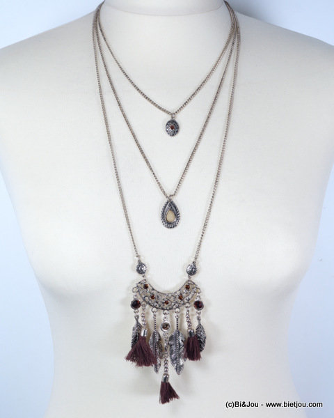 necklace 0115615-14 sautoir antique tassel feather metal-polyester-strass