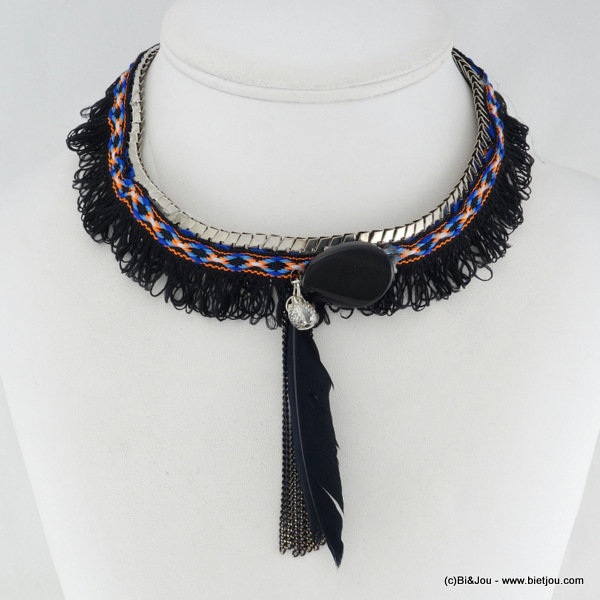 necklace 0116035-01 gypsy boho hippie synthetic-metal-feather-stone