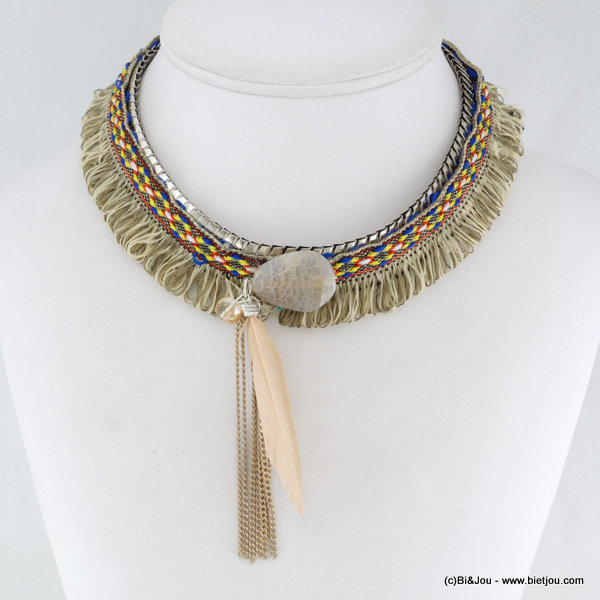 necklace 0116035-06 gypsy boho hippie synthetic-metal-feather-stone