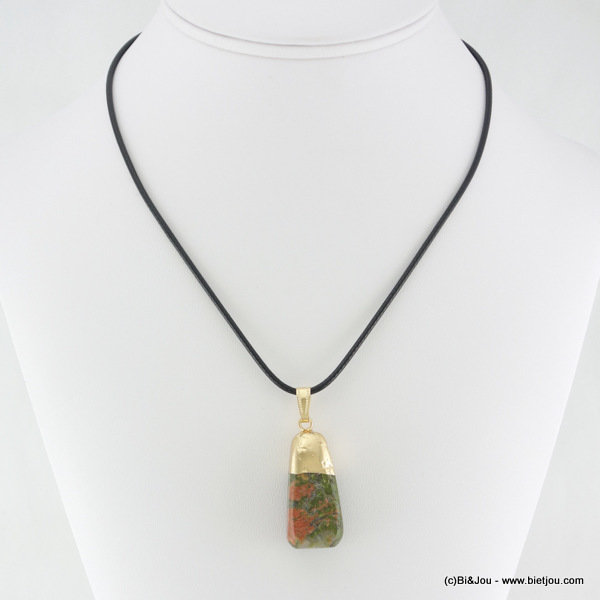 necklace 0116105-07 metal-waxed cotton-stone