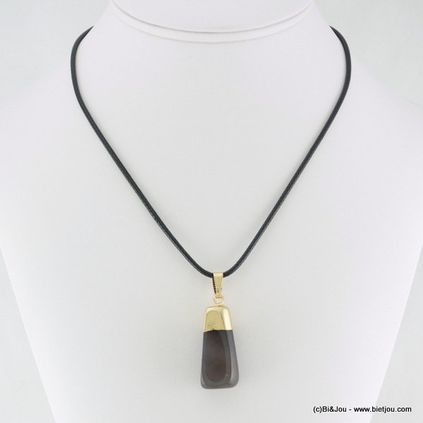 necklace 0116105-26 metal-waxed cotton-stone