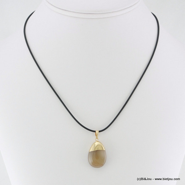 necklace 0116106-25 metal-waxed cotton-stone