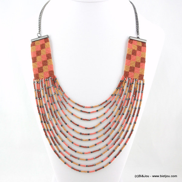 collier 0116108-36 tribal rocaille-métal