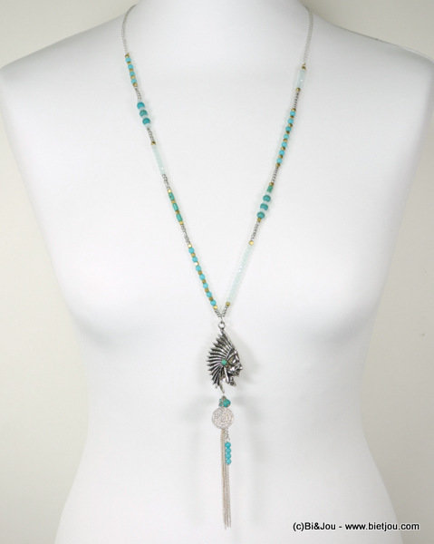 long necklace 0116261-17 native american head metal-reconstituted stone-crystal-seed beads