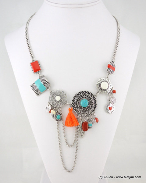 necklace 0116282-99 pompon metal-enamel-cotton-reconstituted stone