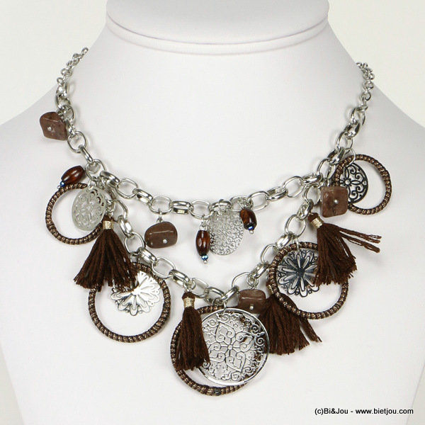 necklace 0116507-02 tassel filigree metal-polyester-stone