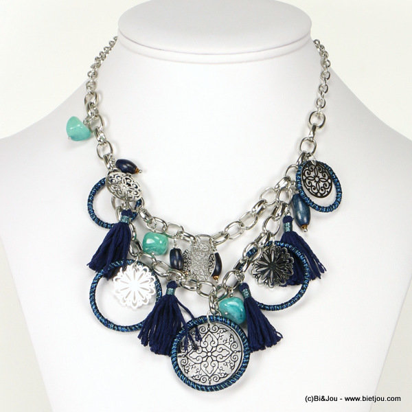 necklace 0116507-09 tassel filigree metal-polyester-stone