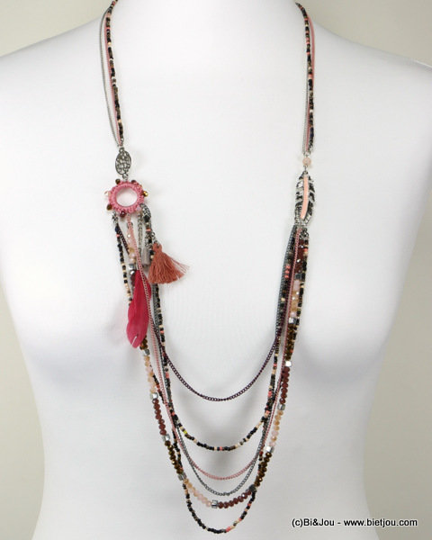 necklace 0116509-18 sautoir feather metal-seed beads-crystal-polyester