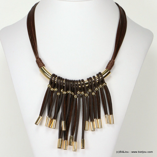 necklace 0116540-02 bib fringe waxed cotton-synthetic-metal