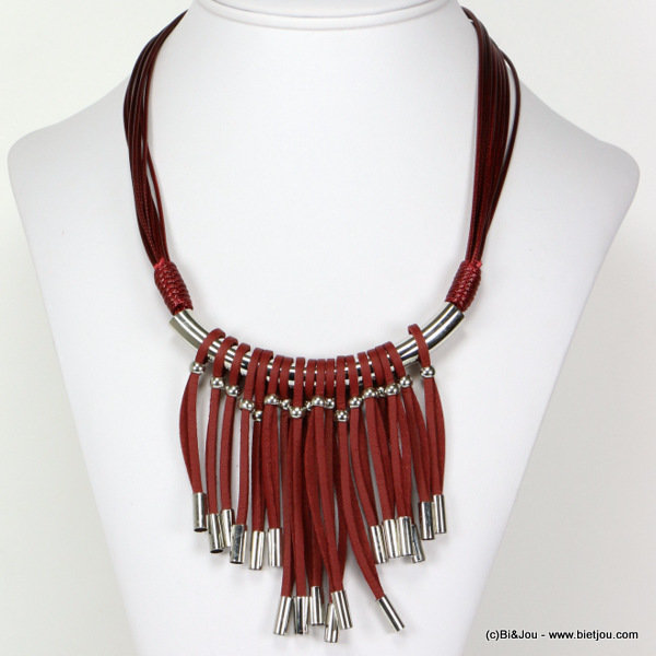 necklace 0116540-10 bib fringe waxed cotton-synthetic-metal