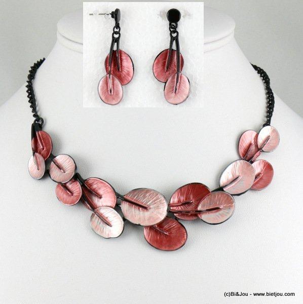 parure collier boucles d 39 oreilles mail feuille plante monnaie chinoise 0116554 18 m tal. Black Bedroom Furniture Sets. Home Design Ideas