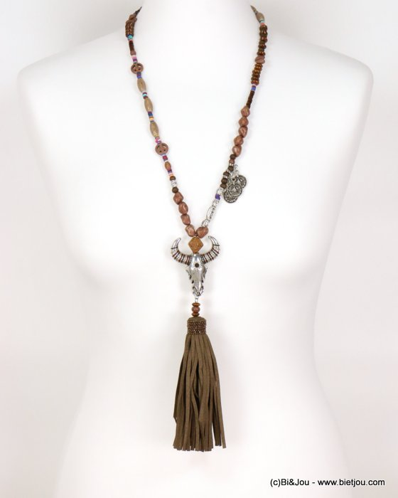 necklace 0116570-31 bull head tassel metal-synthetic-wood-reconstituted stone-acrylic