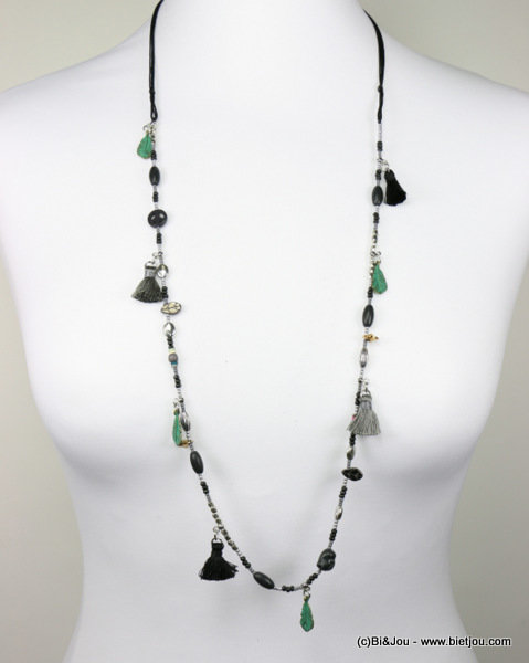 long necklace 0116576-01 tassel reconstituted stone-metal-polyester-crystal-seed beads-acrylic