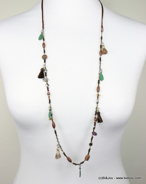 long necklace 0116576-02 tassel reconstituted stone-metal-polyester-crystal-seed beads-acrylic