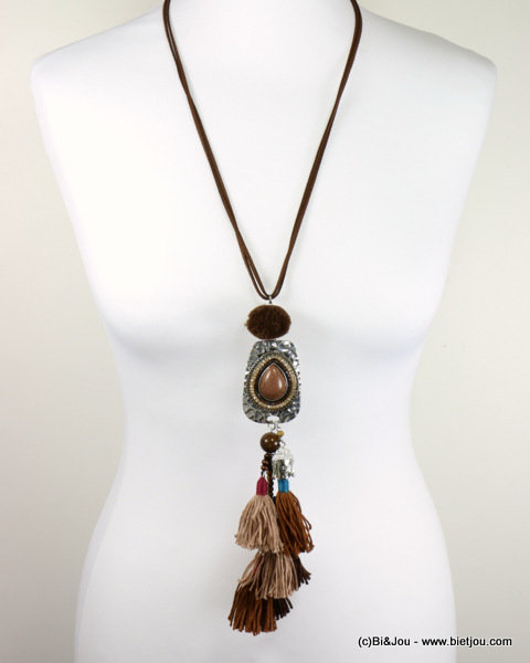 necklace 0116579-02_2 sautoir buddha tassel reconstituted stone-metal-polyester-crystal-wood-suede