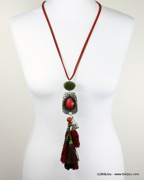 necklace 0116579-12_2 sautoir buddha tassel reconstituted stone-metal-polyester-crystal-wood-suede