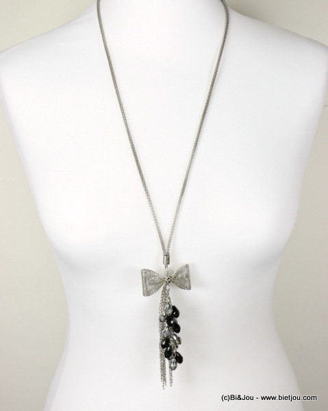 necklace 0116601-13 bow tie sautoir metal-crystal