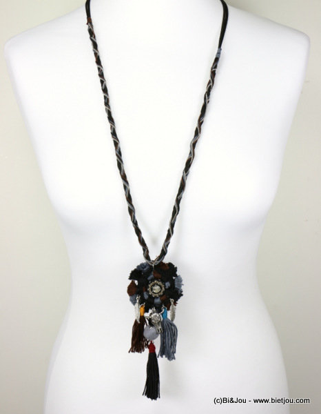 necklace 0116611-01 bull head pompon tassel metal-polyester-strass-shell-suede