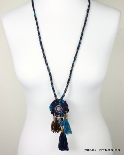 necklace 0116611-09 bull head pompon tassel metal-polyester-strass-shell-suede