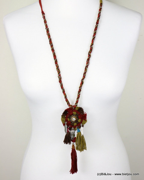 necklace 0116611-10 bull head pompon tassel metal-polyester-strass-shell-suede