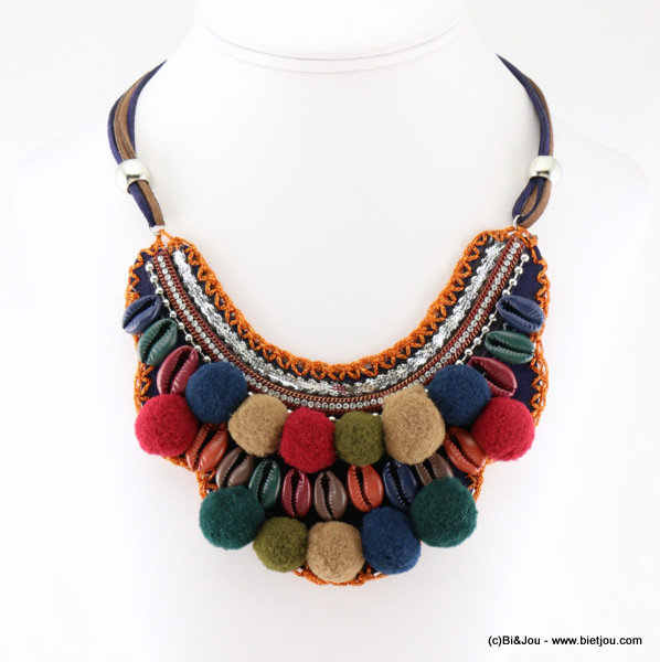 necklace 0116623-99 bib pom pon polyester-suede cord-shell-strass