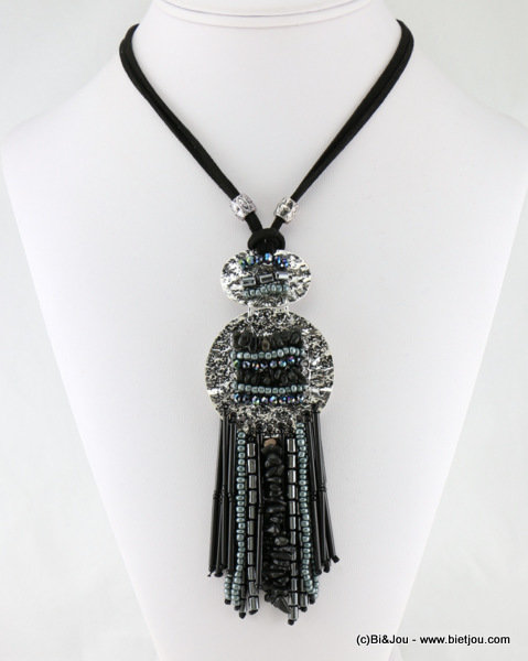 necklace 0116625-01 suede cord-metal-natural stone-seed beads-glass-crystal