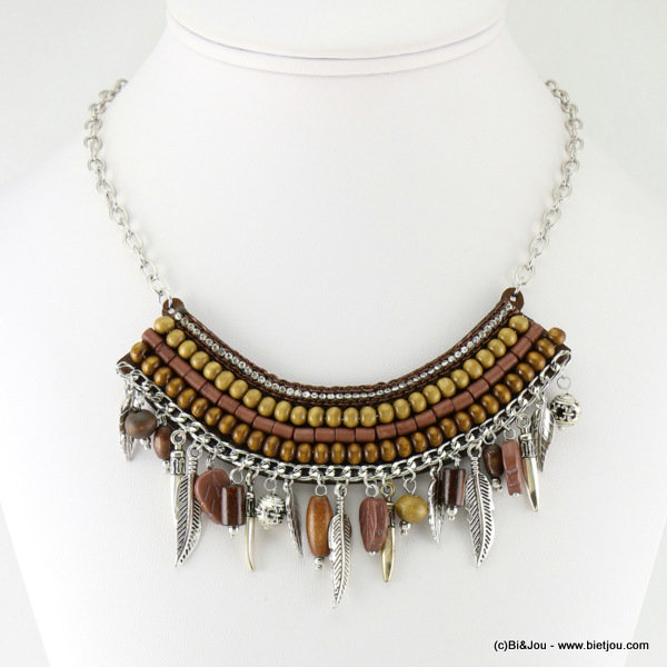 necklace 0116631-02 metal-wood-resin-reconstituted stone-strass