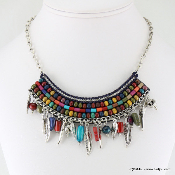 necklace 0116631-99 metal-wood-resin-reconstituted stone-strass