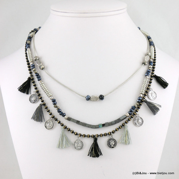 necklace 0116678-01 3-rows tassel sequin metal-crystal-polyester