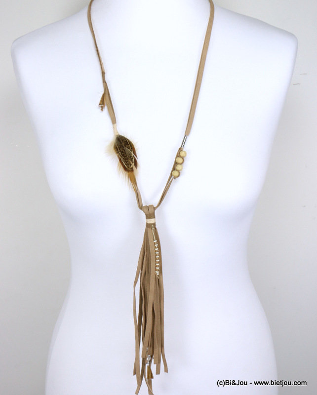 long necklace 0117001-06 sautoir suede feather polyester-crystal-wood-metal
