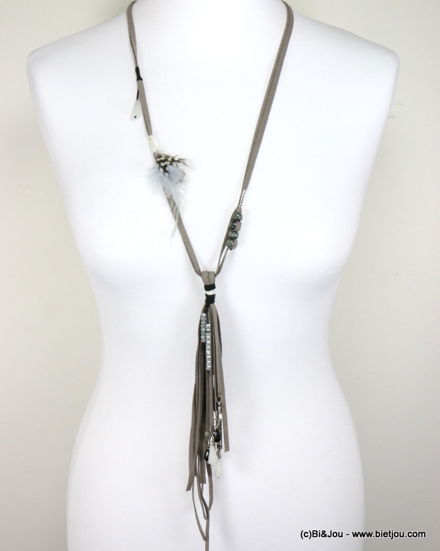long necklace 0117001-25 sautoir suede feather polyester-crystal-wood-metal