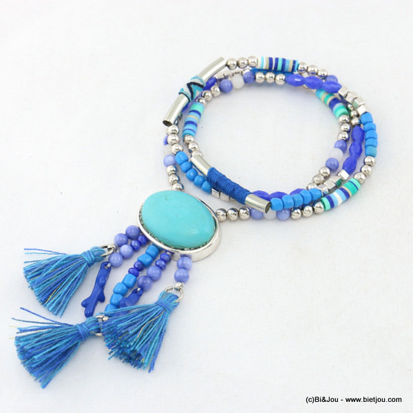 necklace 0117023-08 elastic pompon metal-crystal-polyester-acrylic-glass-reconstituted stone-seed beads
