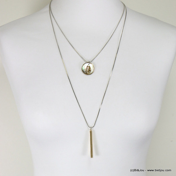 long necklace 0117048-21 2-rows shell bar pendant metal