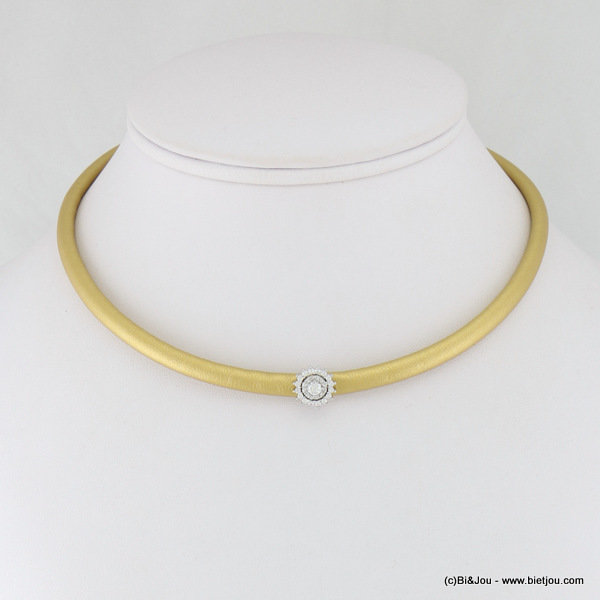 necklace 0117108-14 choker faux-leather metal-synthetic-strass