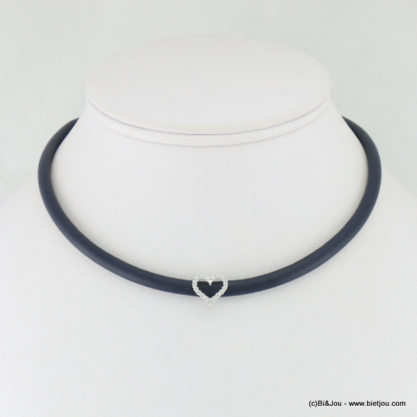 necklace 0117110-09 choker heart faux-leather metal-synthetic-strass