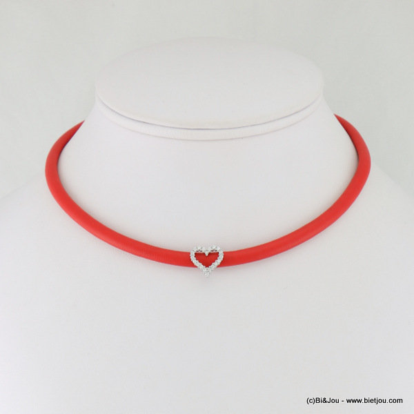 necklace 0117110-12 choker heart faux-leather metal-synthetic-strass