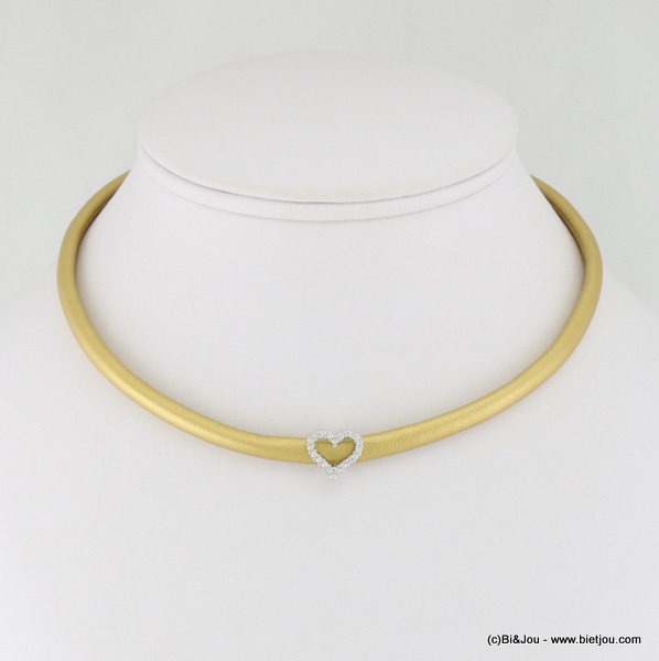 necklace 0117110-14 choker heart faux-leather metal-synthetic-strass