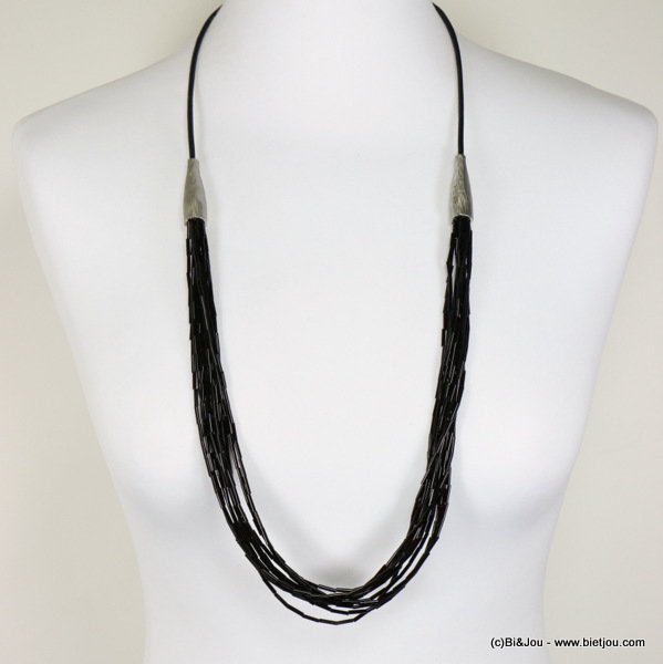 long necklace 0117122-01 metal-glass-leather