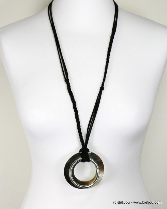 long necklace 0117140-01 suede-metal-shell