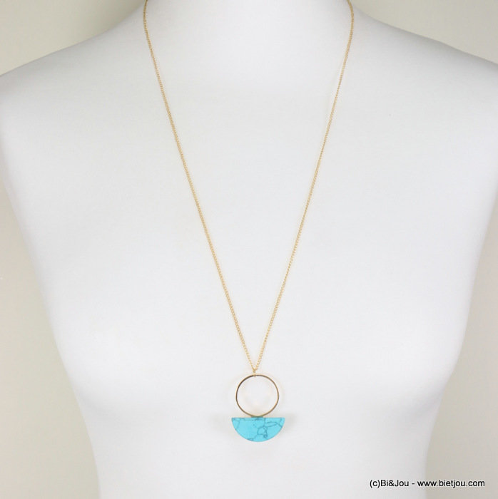 necklace 0117305-17 minimalist metallic ring marbled effect half-moon metal-acrylic
