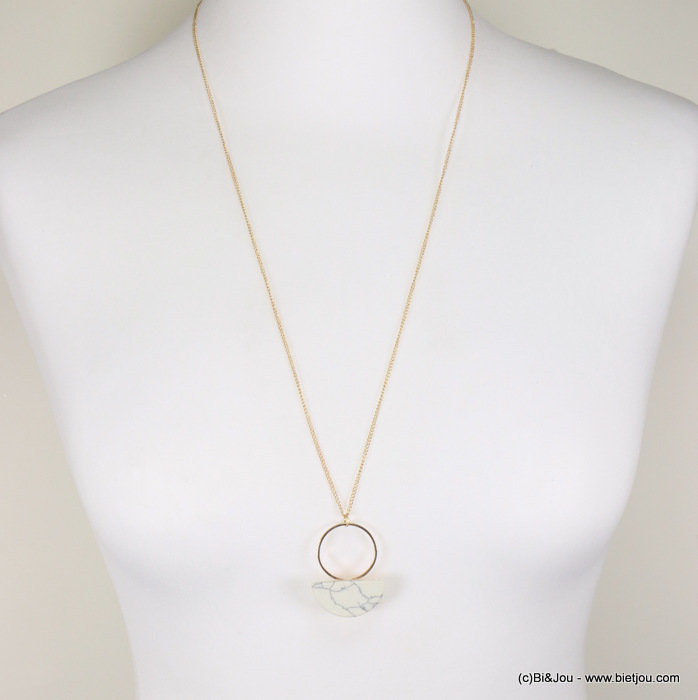 necklace 0117305-37 minimalist metallic ring marbled effect half-moon metal-acrylic
