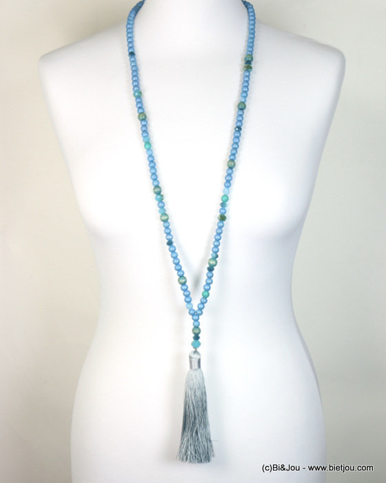 necklace 0117322-08 wood-crystal-polyester
