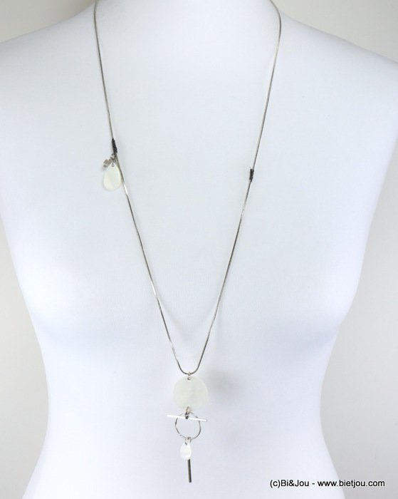 long necklace 0117324-19 metallic rod-shell beads