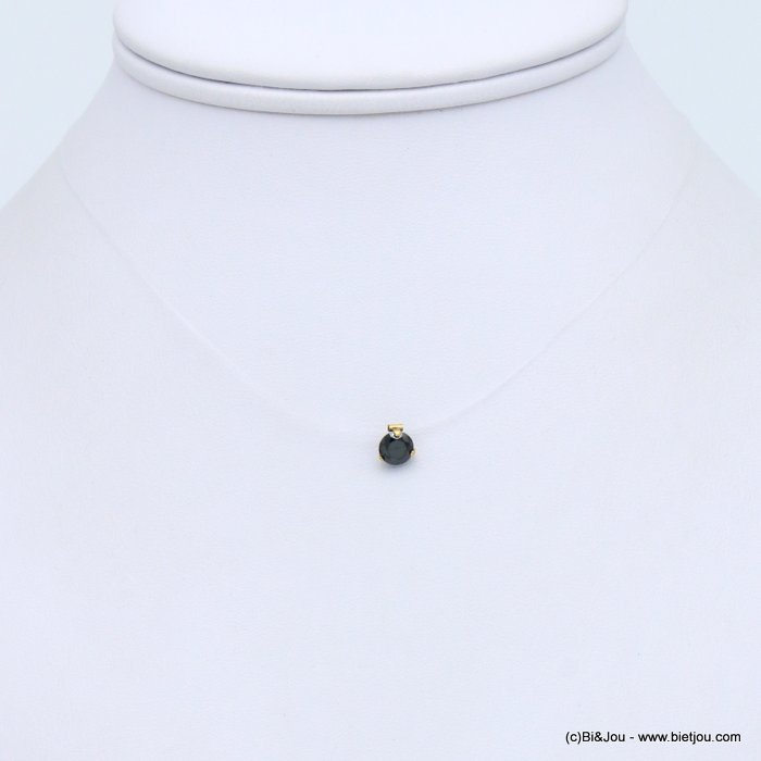 collier 0117330-01 acier inoxydable fil nylon invisible strass 8mm