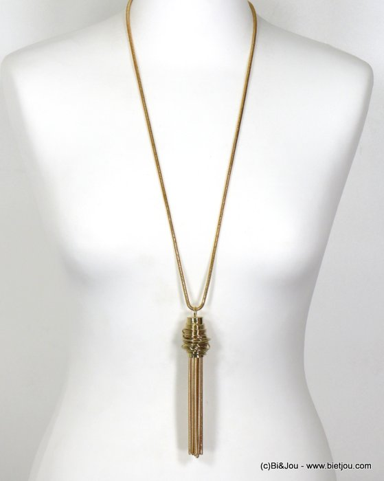 necklace 0117620-14 long necklace chic metal with pendants rod chain snake women