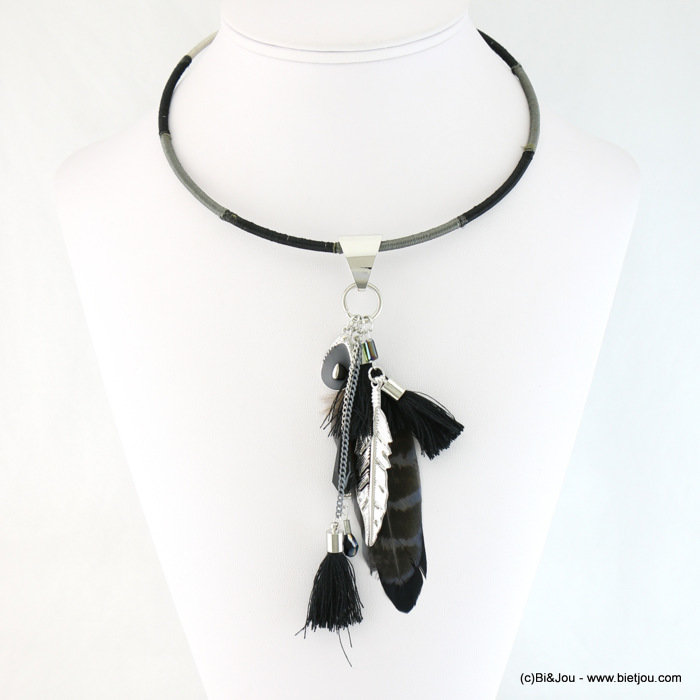 necklace 0117648-01 choker gypsy chic metal and natural feather fabric tassel polyester-cristal